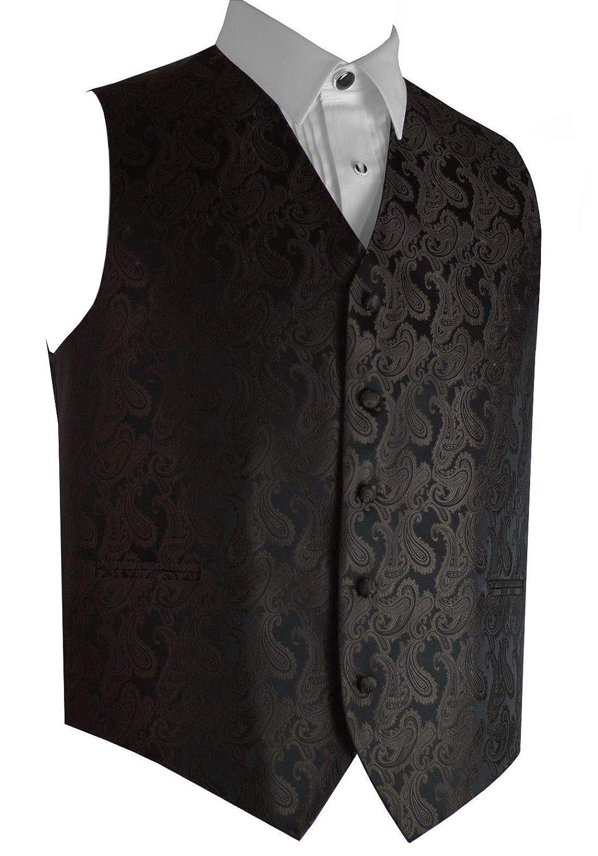 Italian Design Mens Formal Tuxedo Vest in Cocolate Paisley
