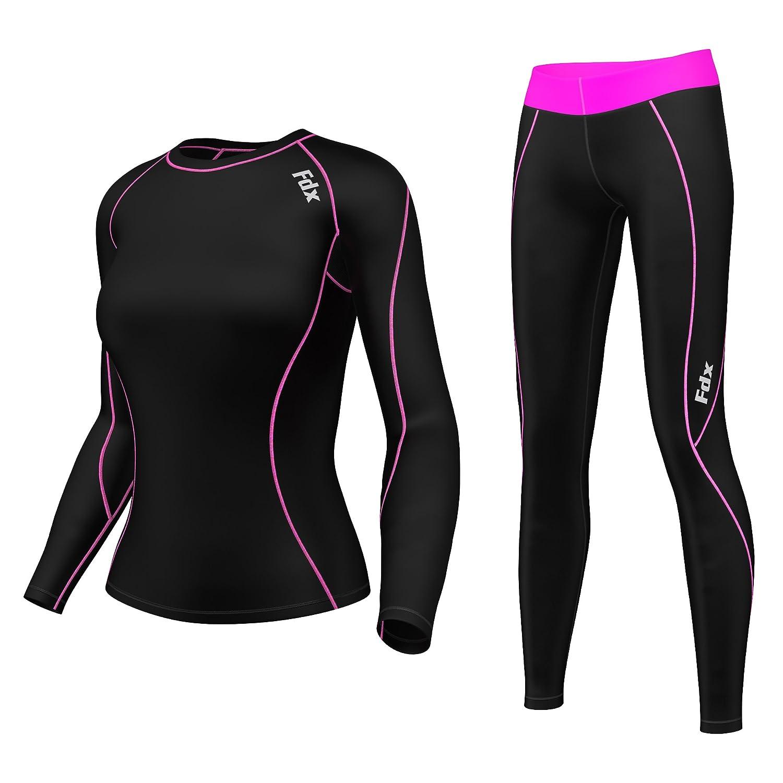 FDX Women's Compression Armour Base layer Top Skin Fit Shirt + Leggings set FDX-12-00
