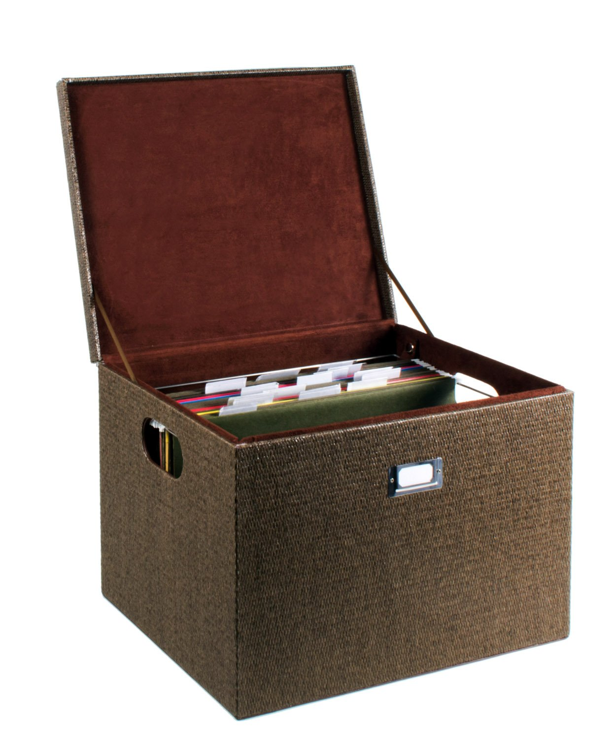 G.U.S. Decorative Office File and Portable Storage Box For Hanging Folders Letter Or Legal, Woven Rattan