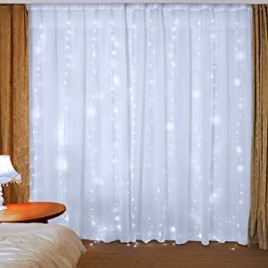 300LED 9.8 x 9.8 ft LED Window Curtain String Lights for Bedroom,Hanging Lights Decor Fairy String Lights,Wall Decor Lights for Girls,Party Birthday Christmas Decorations Lights White-Color