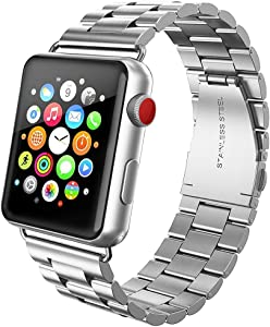 FanTEK Band Compatible for Apple Watch 38mm / 40mm, Stainless Steel with Metal Clasp Strap Wrist Band Bracelet Replacement for Apple Watch Series 1 2 3 4 5 iWatch, Silver
