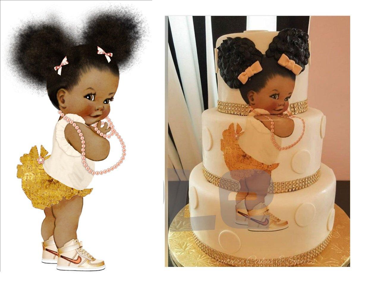 Rainbow Unicorn African American Baby Edible Cake Image ...