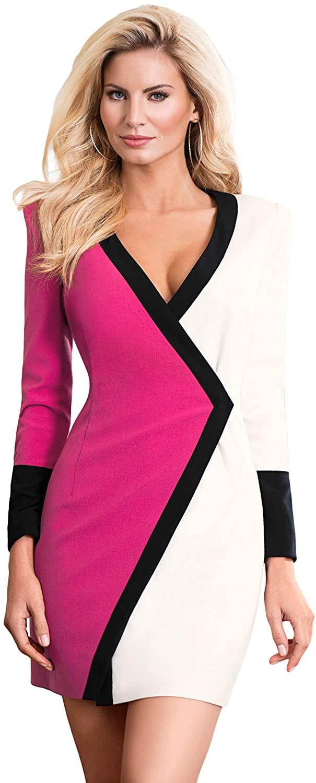 b192ef46a0e1 Dear-Queen Women Sexy Plunge V Neck Black White Color Block Faux Wrap Mini  Dress Evening Party Club Bodycon Dress at Amazon Women's Clothing store:
