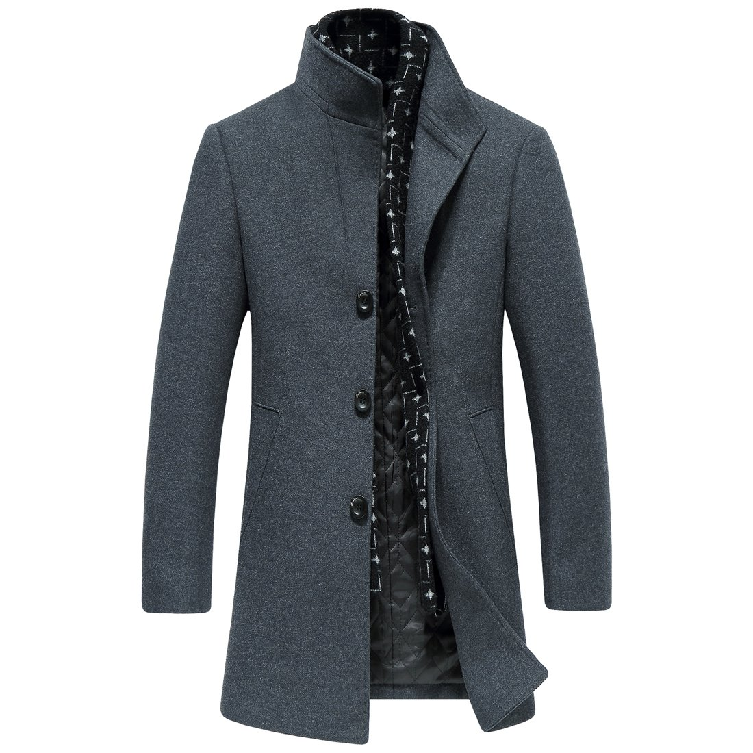 Men's Wool Long Trench Coat Winter Wool Blends Tweed Jackets Warm With Detachable Scarf (XXXL, 8725GREY)