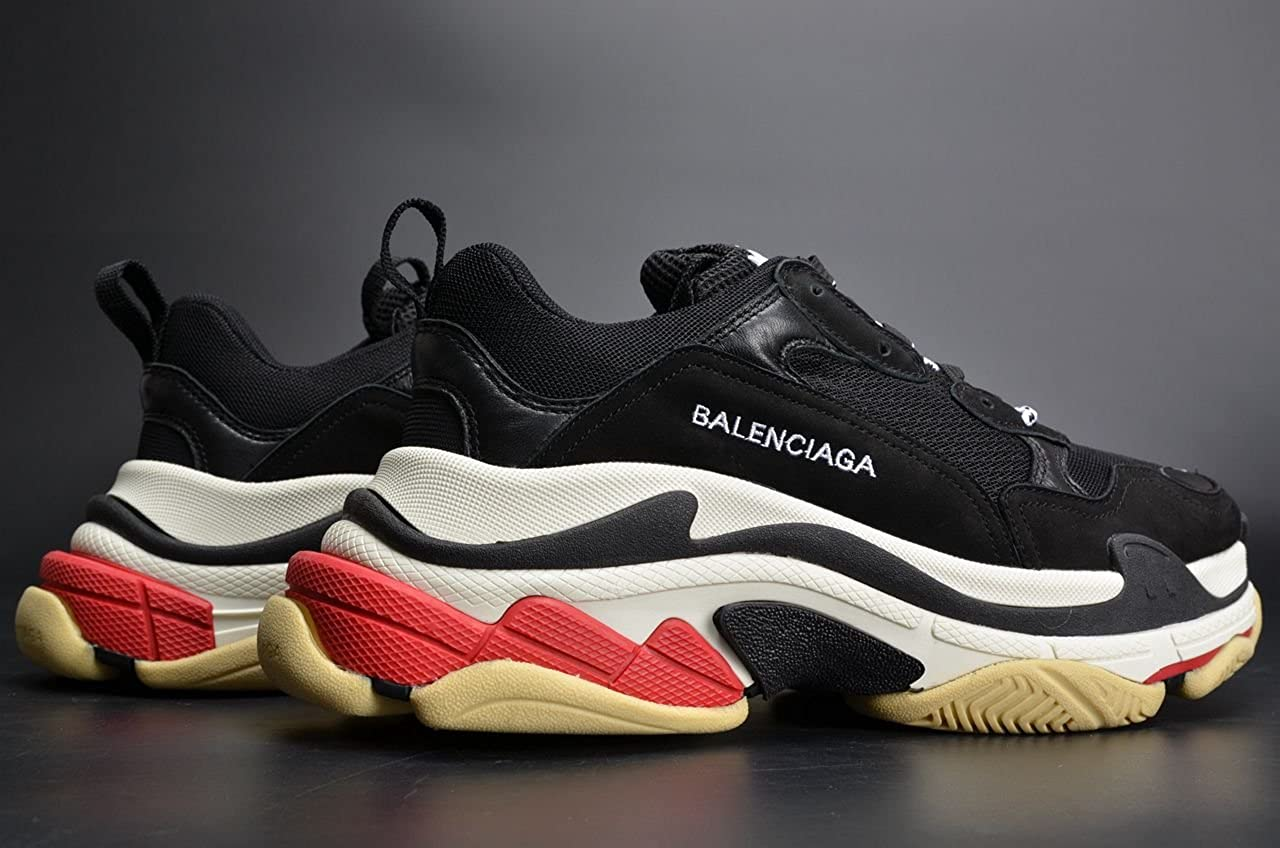 BestVIPP Balenciaga Triple S Sneakers Black White Red Unisex Hombre Mujer Balenciaga Zapatillas: Amazon.es: Zapatos y complementos
