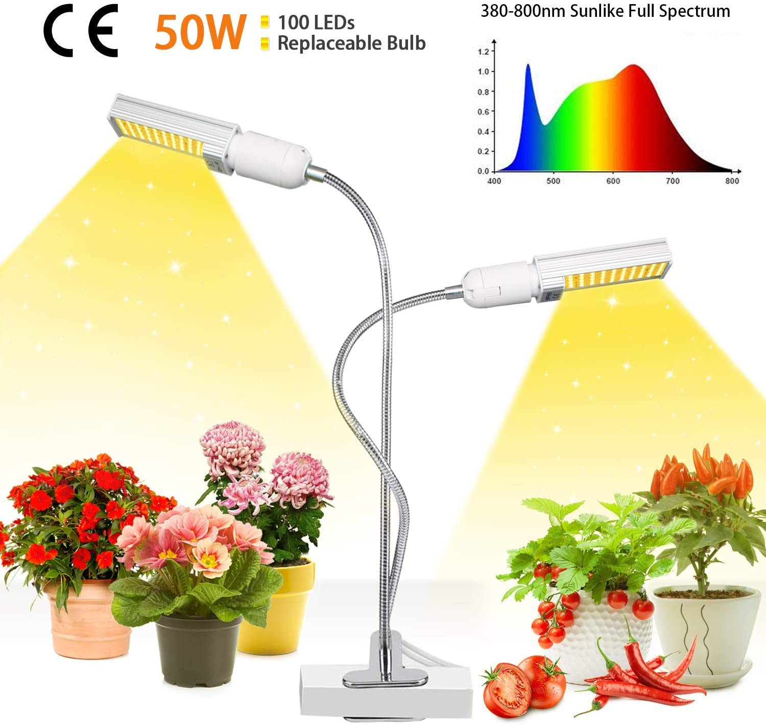 50w LED Plant Light, 100 LED Super Bright Sunlike Full Spectrum Grow Bulb para plantas de interior, Plant Grow Lamp with Reemplazable E27 / E26 Bulb, perfecto para plántulas Florecimiento de frutas