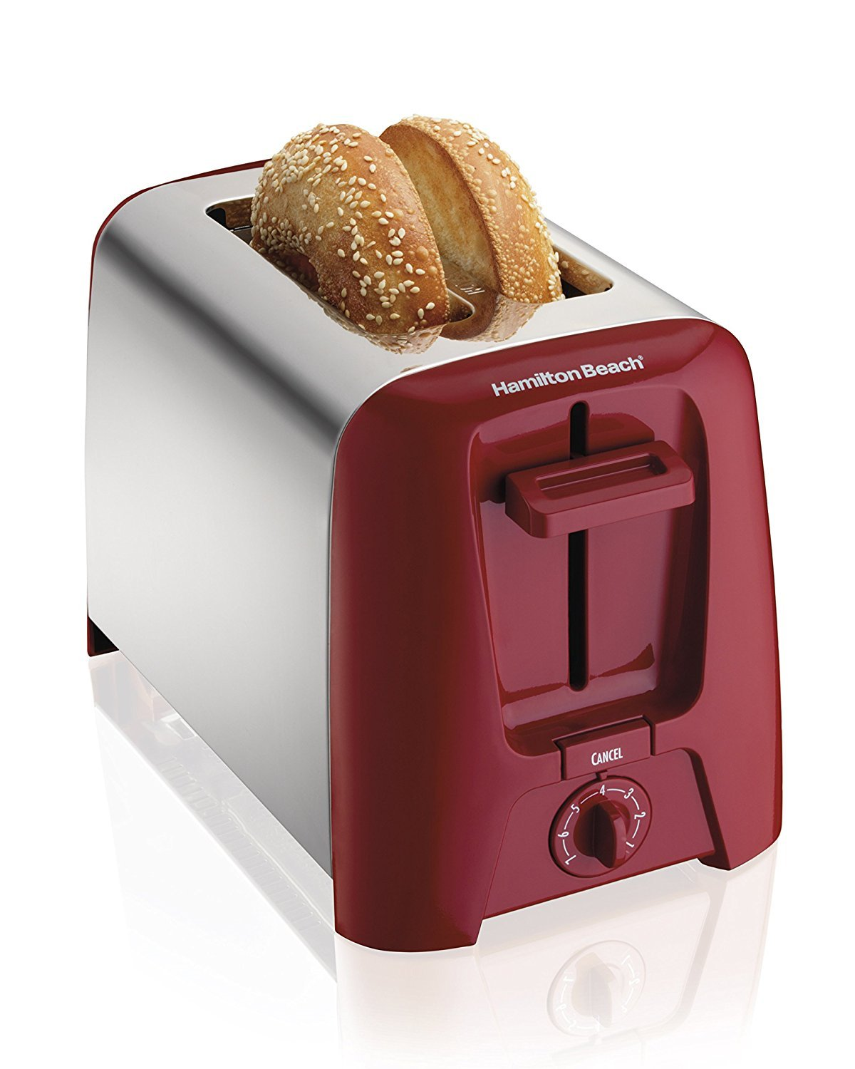 Hamilton Beach Cool Wall 2 Slice Wide Slot Toaster, Red & Stainless