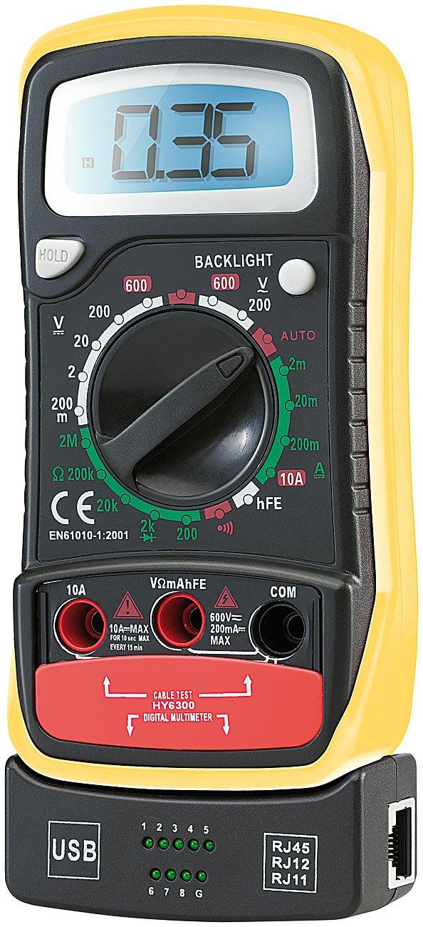 revolt Spannungsmesser: Multimeter'VA102' mit Transistor- u. Netzwerkkabel-Tester (Digitales Multimeter)