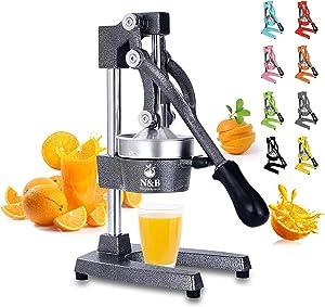Professional Commercial Grade Hand Juicer,Manual Citrus Press Orange Squeezer Heavy Duty Manual Orange Juicer Metal Lemon Squeezer Premium Quality 2021 Upgrade,Grey