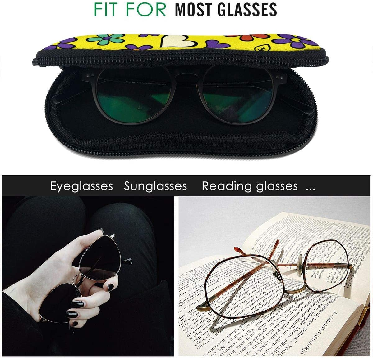 Cartoon Seamless Texture with Heart Mens and Womens Personality Fashion Durable Portable Glasses Case 3.1 X 6.1 Inch Sunglasses Eyeglasses Case Zipper Hard Shell Glasses Box with Hook