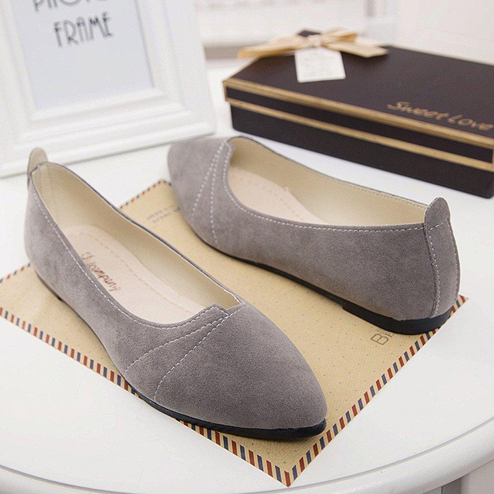 Sunyastor Women's Ballet Comfort Light Faux Suede Multi Color Shoe Flat Pointed Toe Soft Flat Slip-on Fashion Loafer Shoes Gray by Sunyastor Shoes (Image #4)