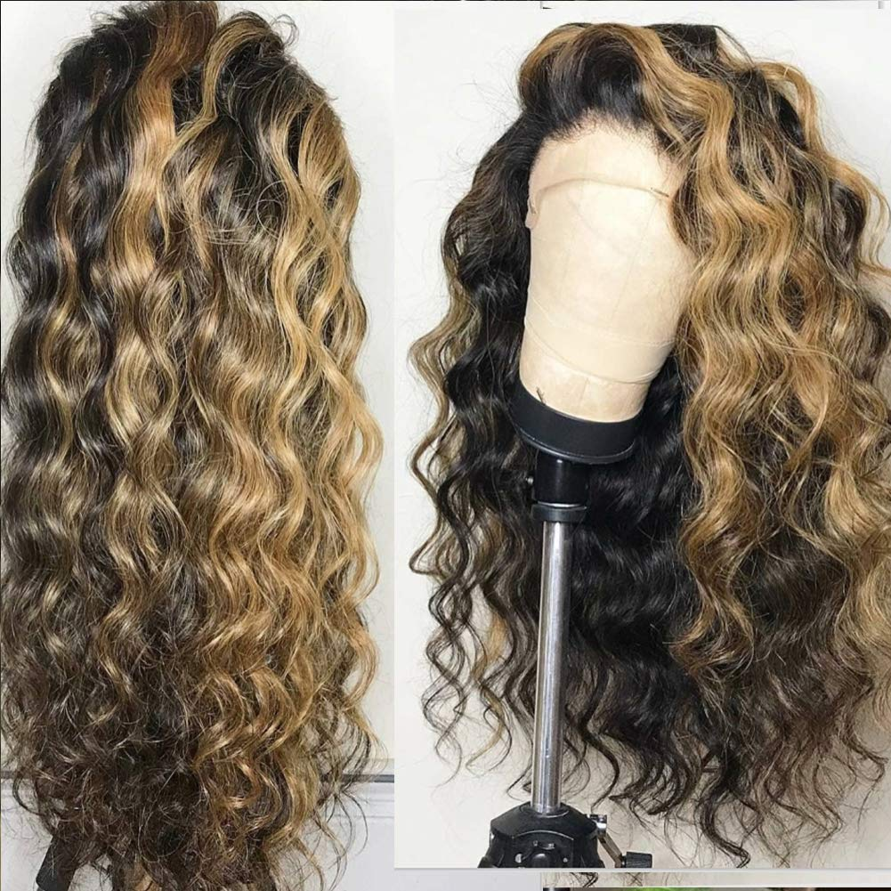#1b with Honey Blonde Highlights 10A Loose Wave Human Hair 13x4 Lace Front Wigs 150% Density Glueless Bleached Knots Full Lace Wigs Pre plucked by Wig Leader (14 inch, Lace Front Wig) 71BUNdc0ifL