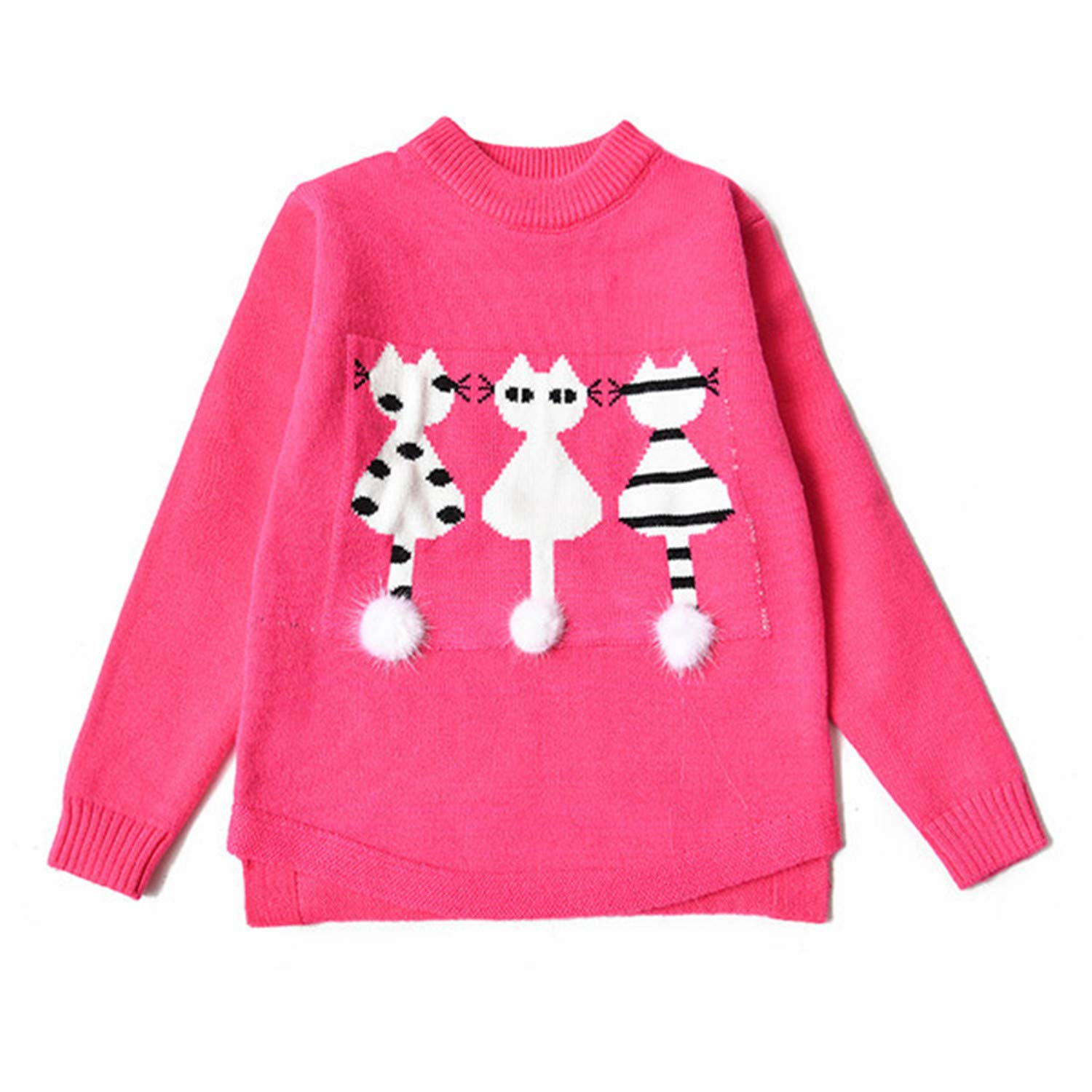 Baby Girls Sweaters Winter Autumn Kids Pullover Knitted Clothes for Girl Cartoon Cat Knitwear Rose 5T