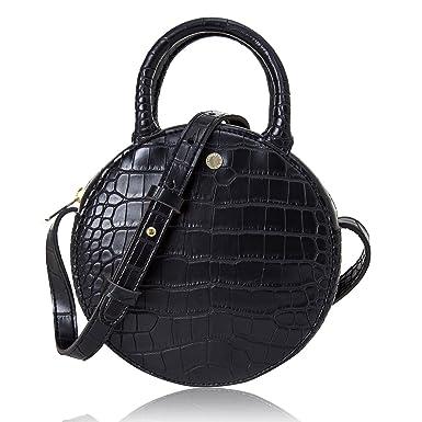 8627a18d94 The Lovely Tote Co. Women's Fashion Crocodile Circle Crossbody Bag (Mini,  Black)