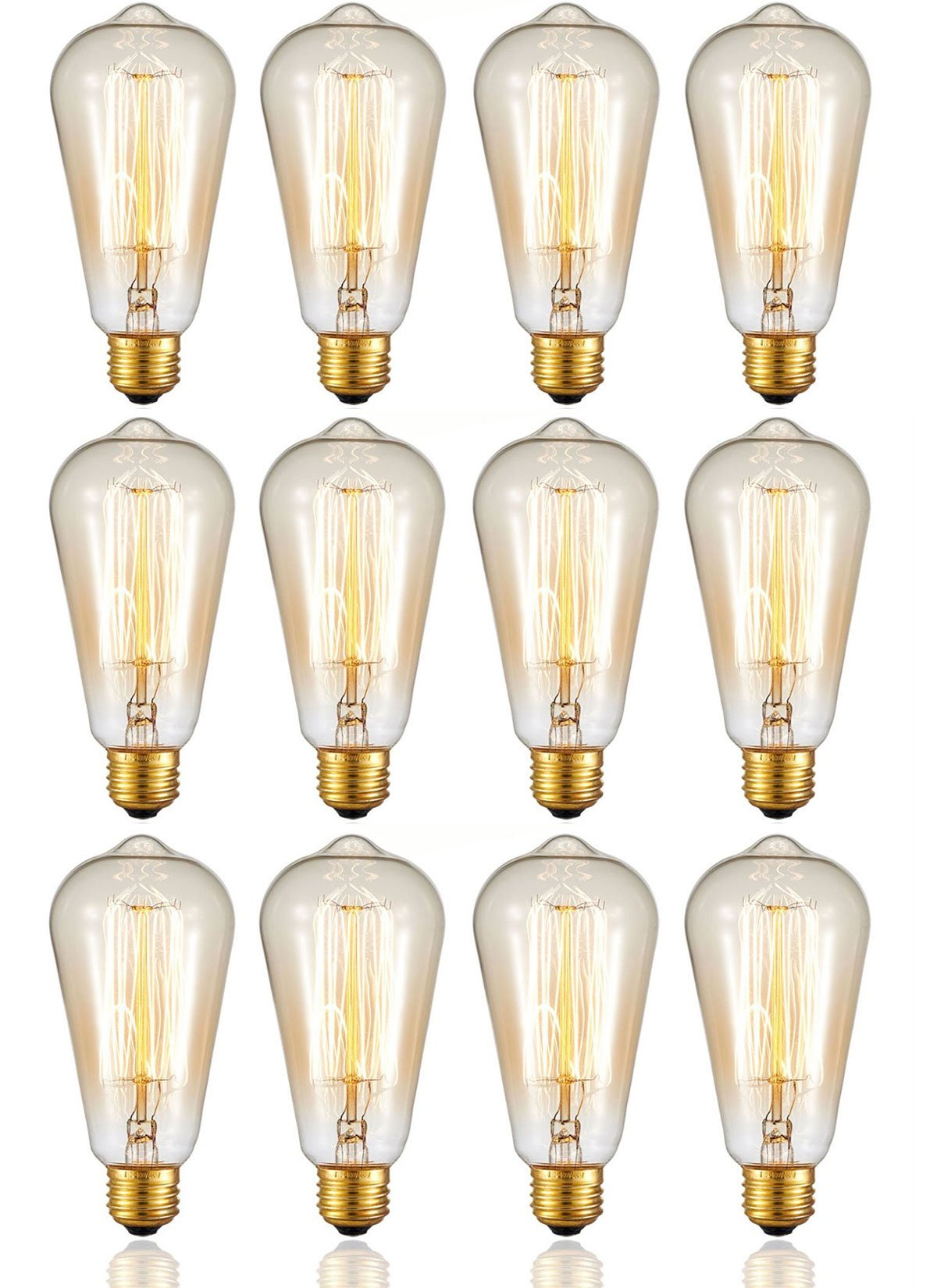 Ohr Lighting Edison Incandescent Light Bulb Vintage 40 Watt Amber Warm Dimmable Antique Squirrel Cage E26 Base 12 Pack
