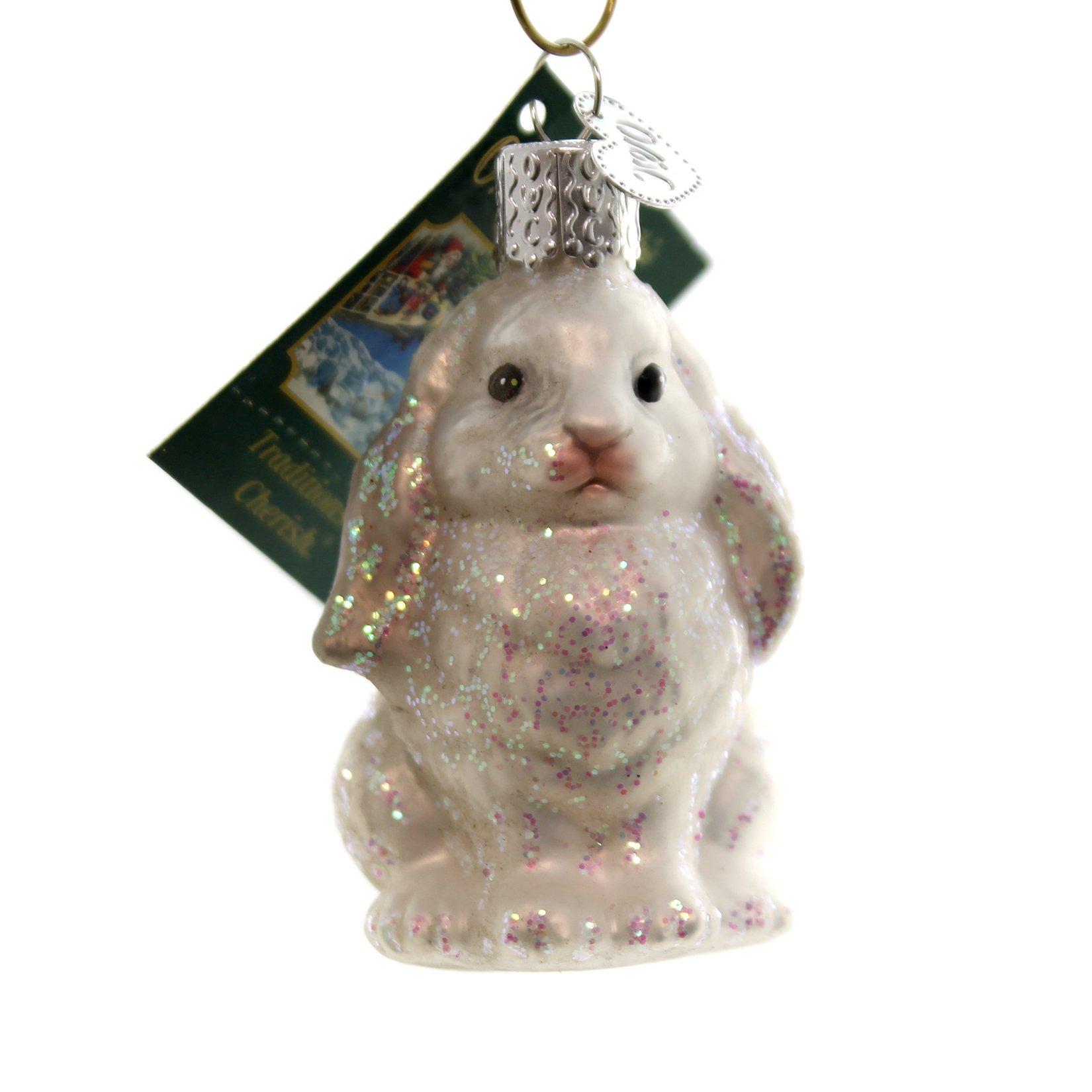 Old World Christmas BABY BUNNY Glass Rabbit Ornament 12365 White