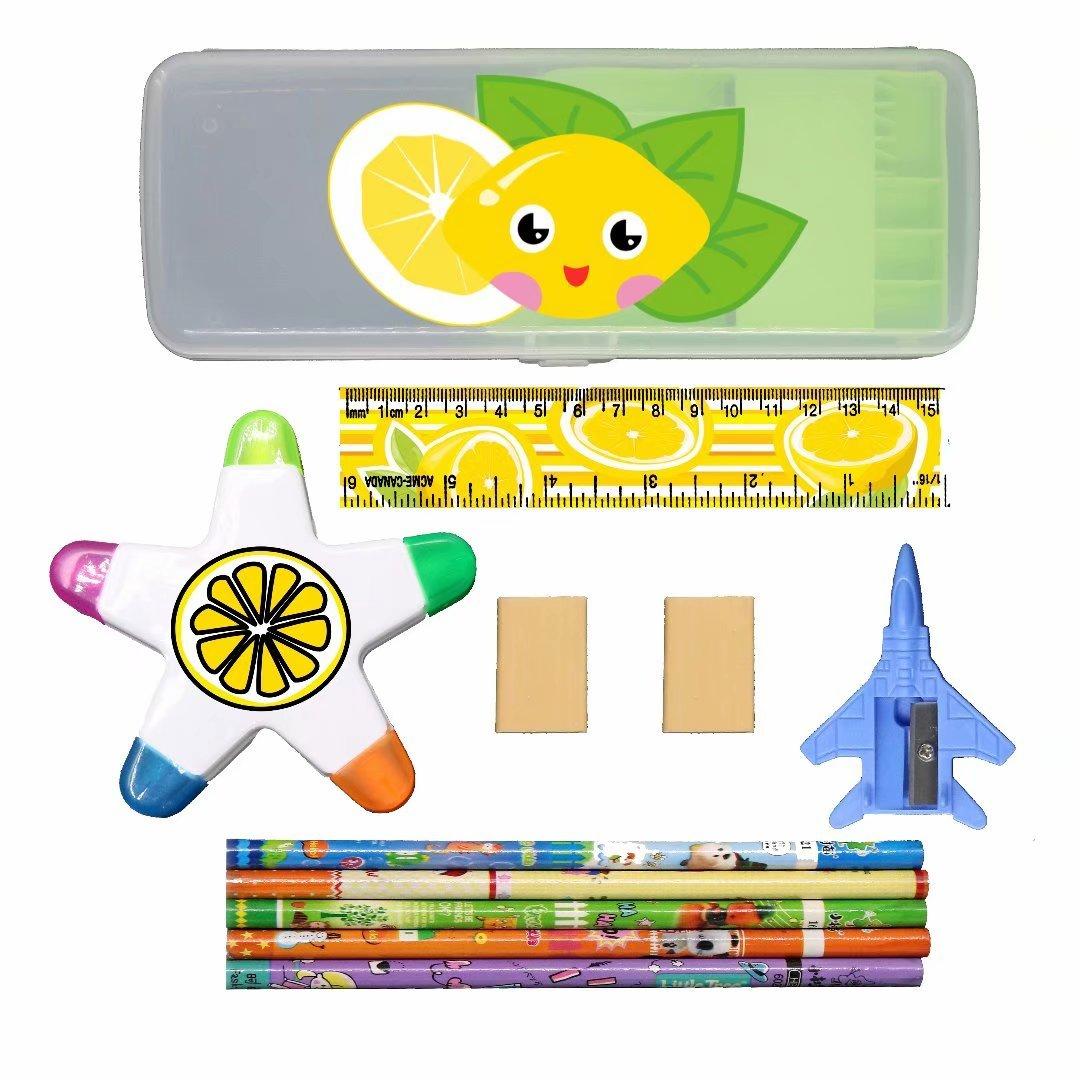 XheHe Stationery Set with Cat Kitten Plastic Pencil Case Pen Box, Eraser, Highlighter, Ruler, Penknife for Kids