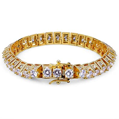 8644d5d095721 Amazon.com: SHINY.U 14K Gold Plated Hip Hop Bling Iced Out Bling CZ ...