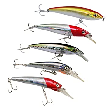 Fishing Crankbait Lures, 5Pcs Big Plugs Popper GT Big Game