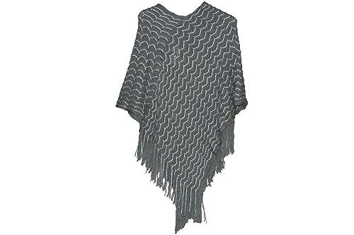 Scialle donna GIANMARCO VENTURI poncho mantella coprispalle con frange grigio
