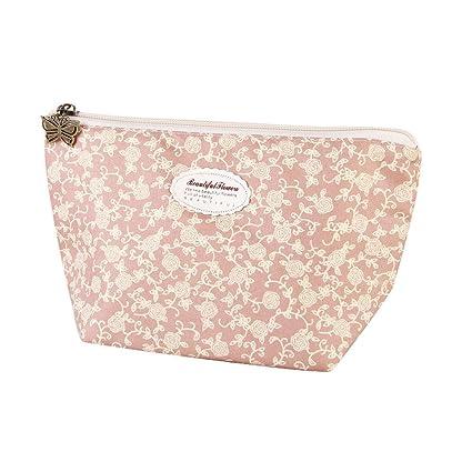 8c65af61c9fea KFSO Cosmetic Bag,Floral Portable Travel Mini Bag Zipper Makeup Case Pouch  Toiletry Wash Organizer (Pink C)