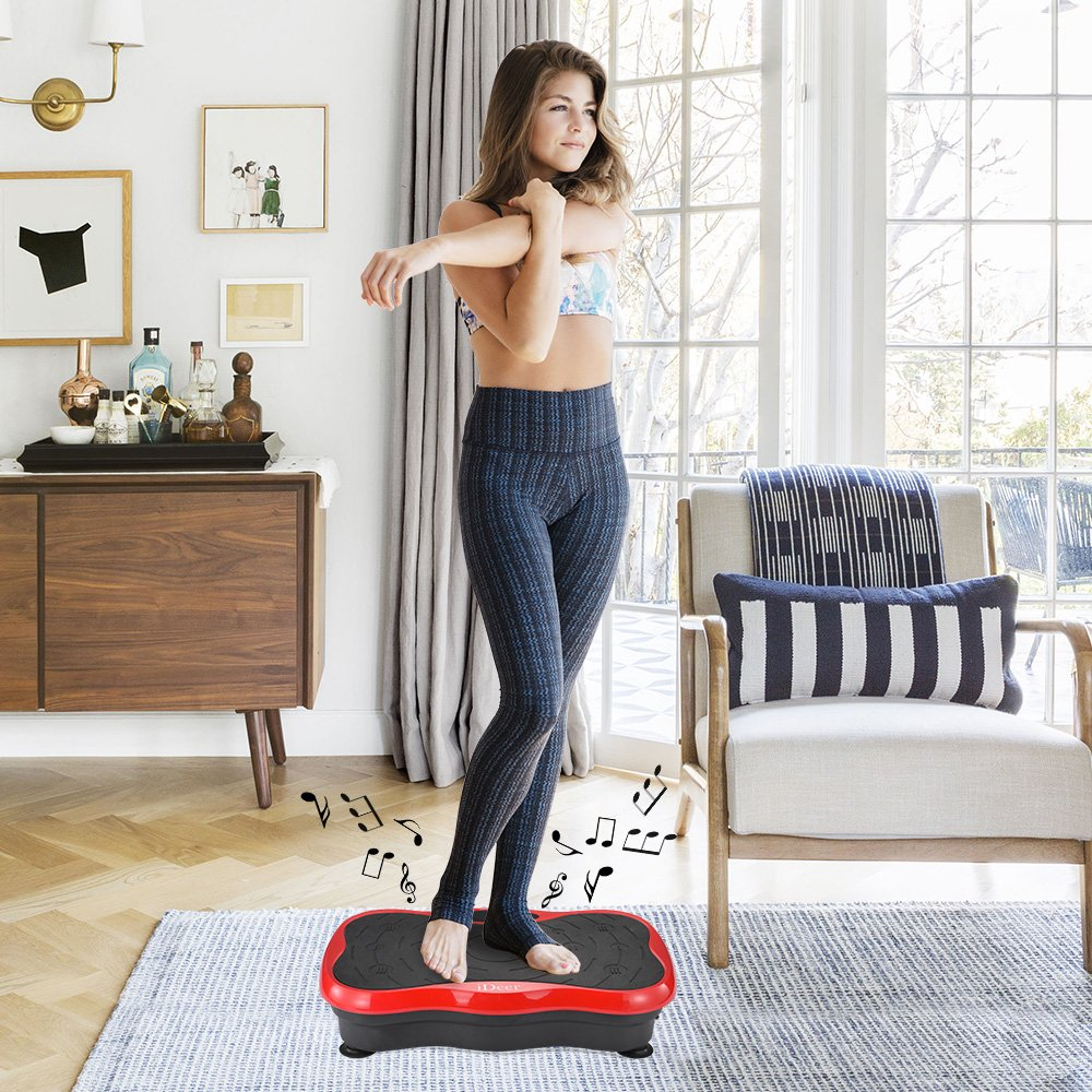 iDeer Vibration Platform Fitness Vibration Plates,Whole Body Vibration Exercise Machine w/Remote Control &Bands,Anti-Slip Fit Massage Workout Vibration Trainer Max User Weight 330lbs (Red09003) by IDEER LIFE (Image #8)