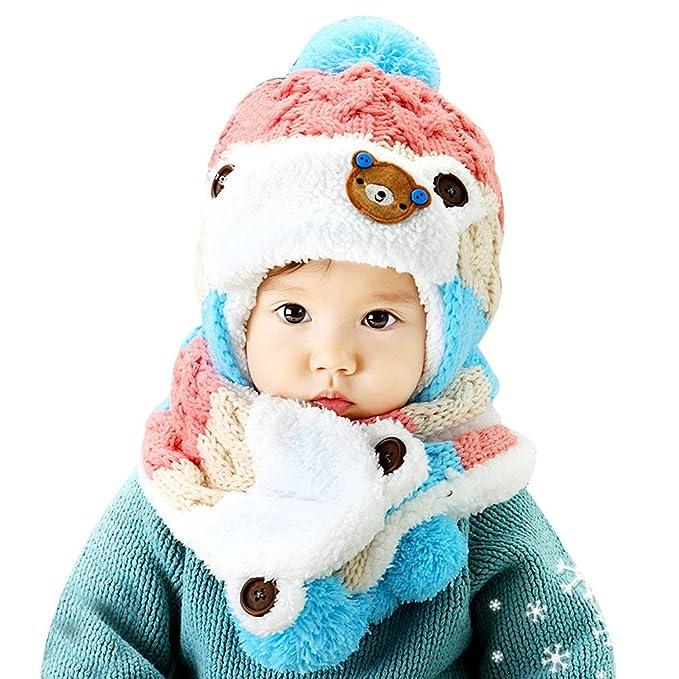 241d19db0 Amazon.com  Baby Girls Boys Hats Winter Warm Cap Hat Beanie Pilot ...