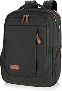 KROSER Laptop Backpack 17.3 Inch Computer Backpack Daypack Water-Repellent Laptop Bag with USB Charging Port for Business/School/Travel/Women/Men-Charcoal Black