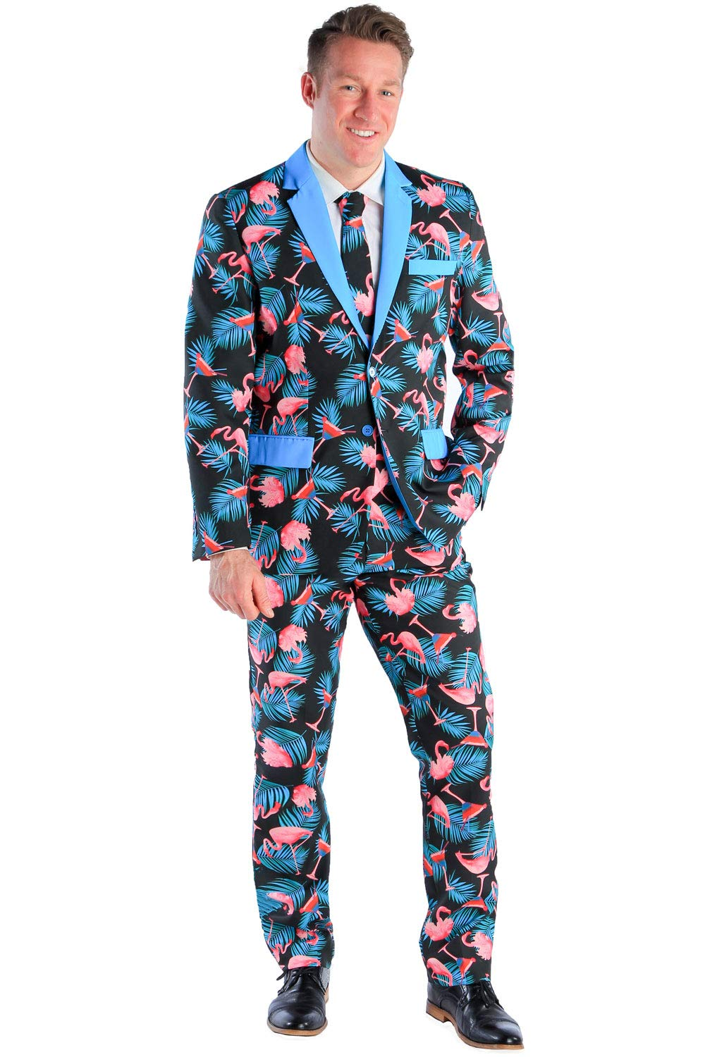 Men's Tall Martini Suit Blazer with Tie - Flamingo Martini Suit Jacket for Guys by Tipsy Elves