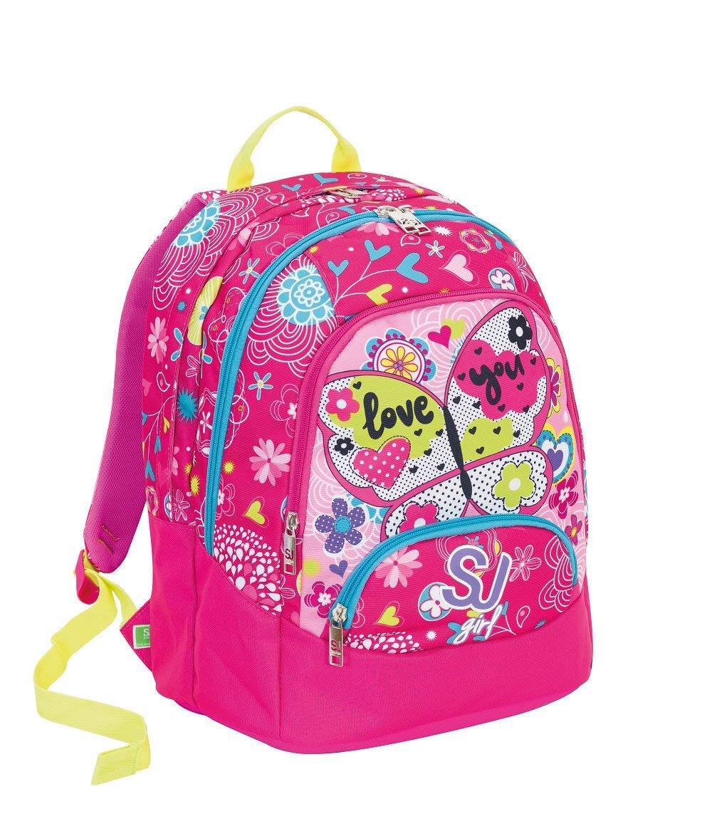 cbcf58e8bc Schoolpack Seven SJ Girl Girl Girl Zaino Maxi tondo rosa con astuccio quick  case attrezzato 2b3d21