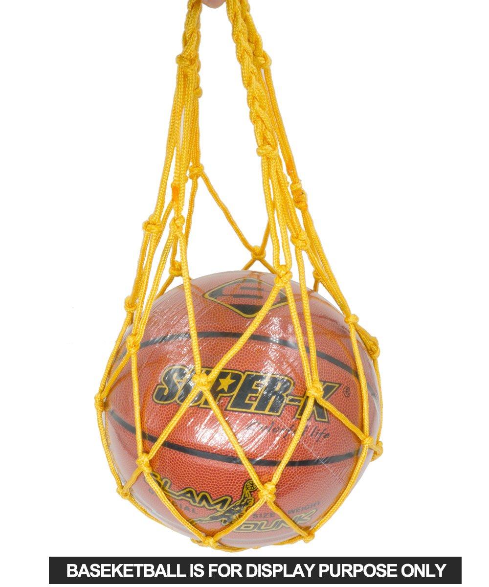 Footballs Softballs Rugby Volleyballs Soccer Balls EZColoris Heavy Duty Sport Equipment Bag Drawstring Ball Mesh Net Nylon Ball Carrier Hold Basketballs All Around Sports Bag for Balls