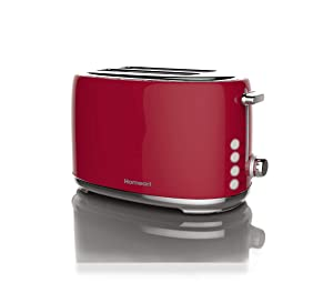 Artisan 2 Slot Toaster by Homeart | 2019 Best Electric Toaster with Multi-Function Toaster Options | Vintage Toaster Stainless Steel (Red)