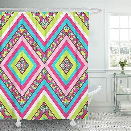 Starolal 72quotx72quot Shower Curtain Waterproof Missoni Colorful Zig Zag Pattern Aztec Ikat Tribal