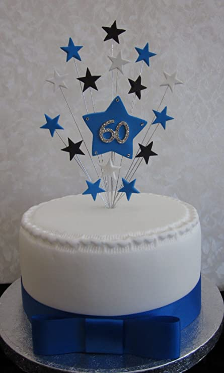 60th Birthday Cake Topper Blue Black And White Stars Suitable For A