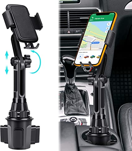 Long Car Cup Holder Phone Mount Universal Cup Phone Holder for Car with Adjustable Long Pole Neck for Cell Phones iPhone 11 Pro//XR//XS Max//X//SE//8//7 Plus//6s//Samsung S10 //Note 9//S8 Plus//S7 Edge
