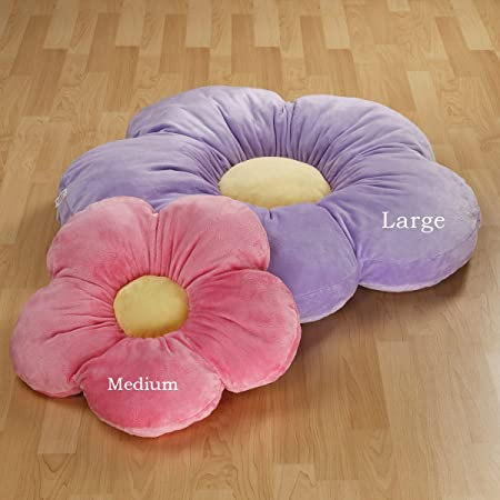 Heart to Heart Girls Flower Floor Pillow Seating Cushion, for a Reading Nook, Bed Room, or Watching TV. Softer and More Plush Than Area Rug or Foam Mat. 35 , Purple