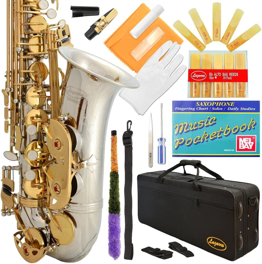 B004OU22NA Lazarro 360-2C E-Flat Eb Alto Saxophone Silver-Gold Keys with Case, 11 Reeds, Care Kit and Many Extras 71BUU2BxVfAL