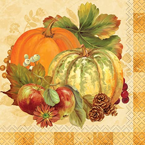 Fall Decor Halloween Pumpkin Decor Paper Napkins Fall Napkins Cocktail Napkins Thanksgiving Napkins Farmhouse Decor Heirloom Pumpkins White Party Napkins 5 x 5 Pk 20