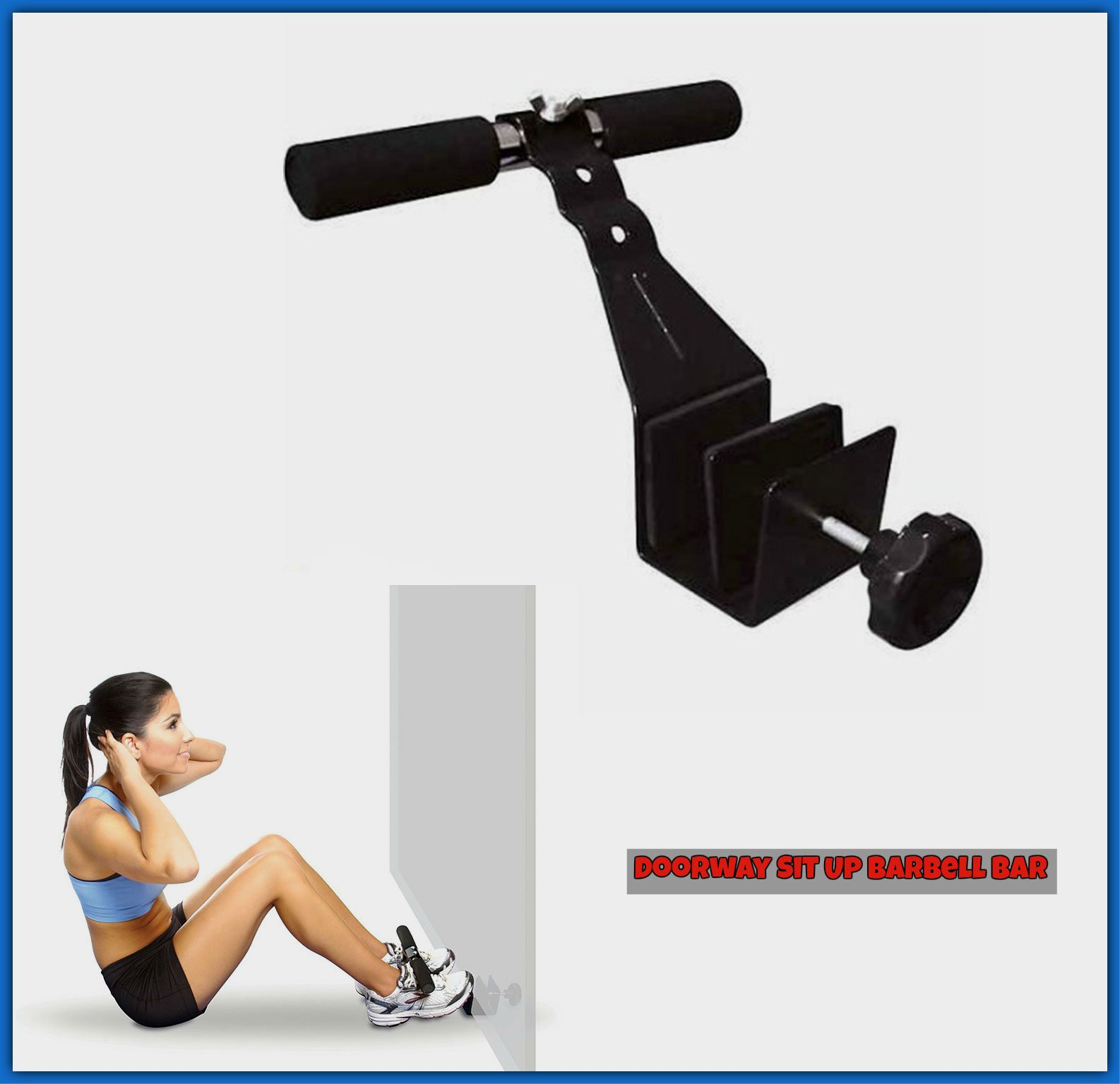 GYM Doorway Exercise Situp Barbell Bar.Abdominal Workout Loose Weight On Floor Door Mounted Home Training.Sturdy Steel & Adjustable To Fit Securely Best Selling Self Trainer Gadget.