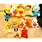 Jiada Birthday Return Gift - Set of 12 Soft Plush Toy Keychains (Multicolour)