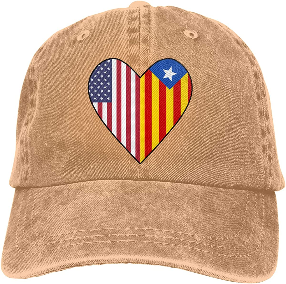 Half Catalonia Flag Half USA Flag Love Heart Unisex Custom Denim Hip Hop Cap Adjustable Baseball Cap
