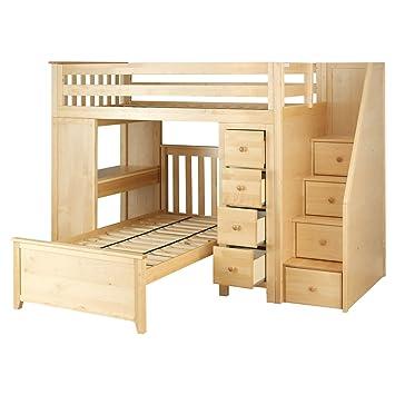 Amazon Com Plank Beam Staircase Combo Loft Bed Desk Dresser
