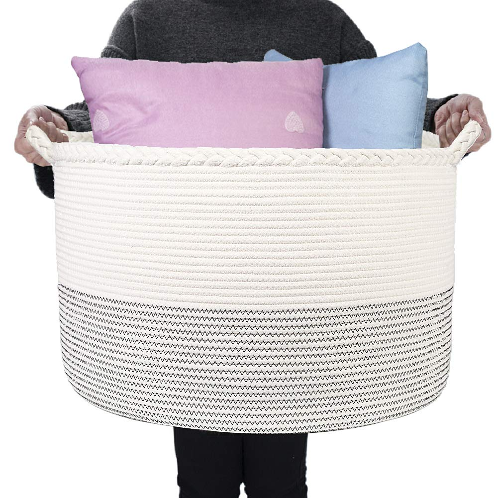 HOMSHOO XXXLarge Cotton Rope Basket - 21.7 x 13.8 inches Woven Laundry Baskets with Handle - Decorative Round Blanket Basket Living Room - Nursery Storage Bins for Toy, Shoe, Cloth, Blanket, Pillow