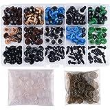 KUUQA 150 pezzi 6-12mm Colorato Occhi di Sicurezza Occhi di Plastic con Rondelle per Bambola, Pupazzo, Peluche