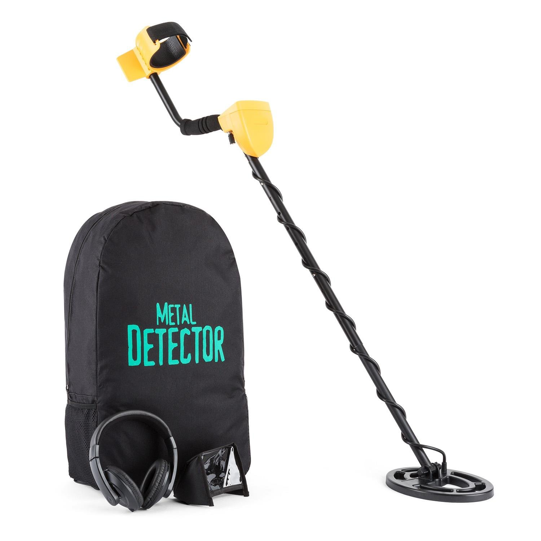DURAMAXX Dr. Jones • Metalldetektor • Metallsuchgerät • wasserdichte Suchspule • 16,5 cm Durchmesser • 2 m Suchtiefe • 8 Empfindlichkeitsstufen • 5 Betriebsmodi • Kopfhörer • schwarz-gelb