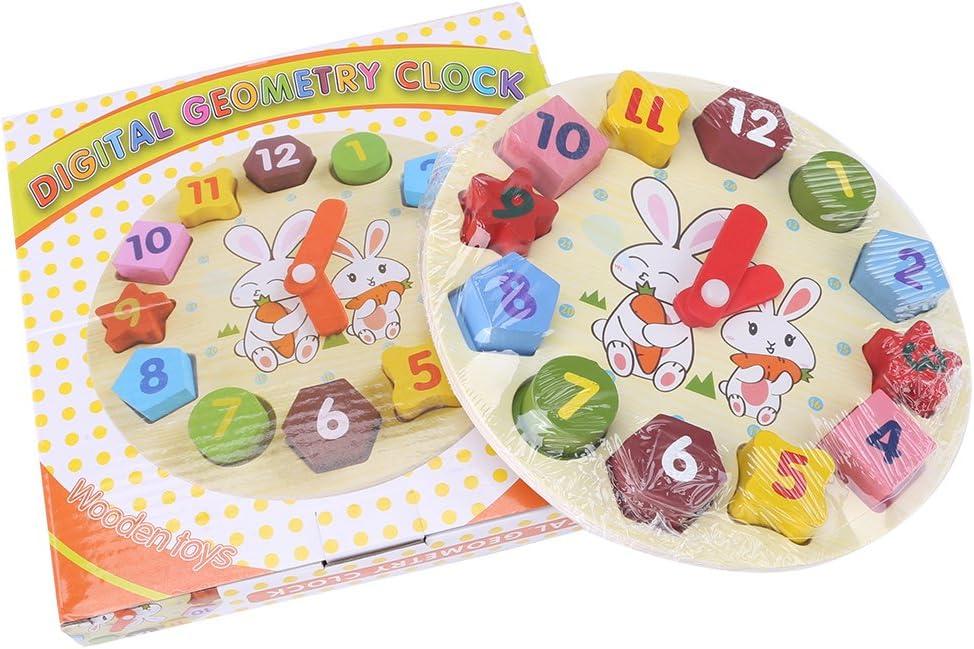 Zerodis 1Set Jouet Puzzle /Éducatif en Bois Motif Lapin Forme Horloge pour Enfant,Blocs Num/érique G/éom/étrie Horloge B/éb/é Jouet Enfant Infantile Intelligence Jouets Bloc De Construction Cadeau