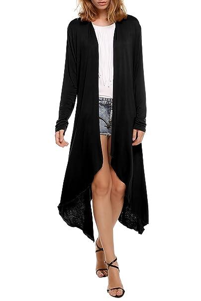 0303b2f2f889a Beyove Women s Long Sleeve Asymmetric Hem Open Front Draped Cardigan Sweater  Black S