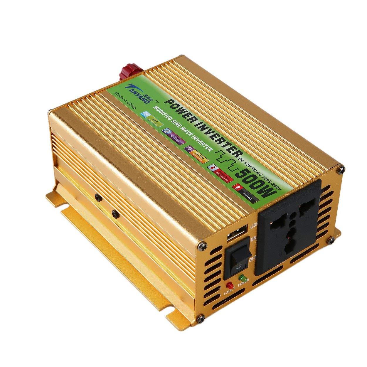 Fashionlook Alimentatore per Auto Inverter sinusoidale Inverter DC da 12V a CA 220V Adattatore USB Caricabatteria per Auto trasformatore di Tensione Portatile