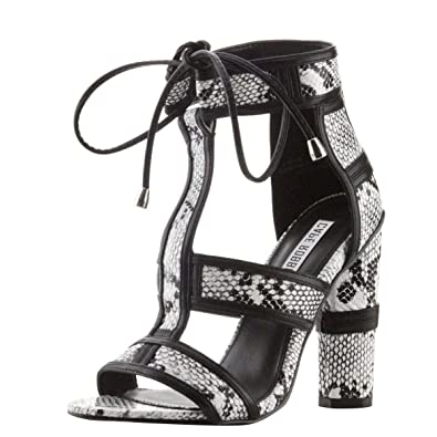 dadc4cc214e CAPE ROBBIN Womens Open Toe Lace Up Snake Print Ankle Strap Chunky Heel  Pump Sandal Shoes