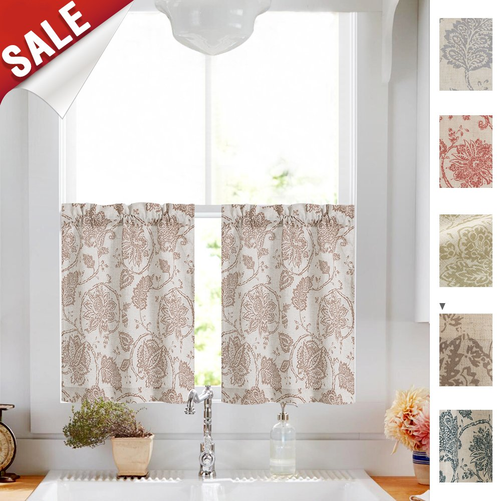 Paisley Scroll Printed Linen Curtains Tiers- Medallion Design Jacobean Floral Printed Burlap Vintage Living Room 24 Inches Long Window Treatment Set (Taupe, 2 Panels)